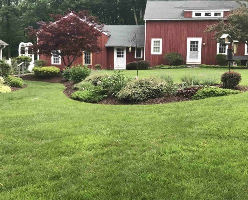 This is an example of our lawn care and landscaping services in Brookfield CT, including mulching and gardening.