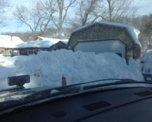An image of a pile of snow from plowing in Danbury, CT.